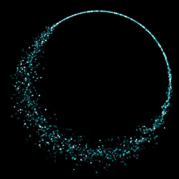A circle made out of hundres of blue particles