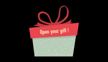 Christmas gift box with a ribbon. Open your gift is written on it.