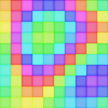 A grid of rainbow themed squares