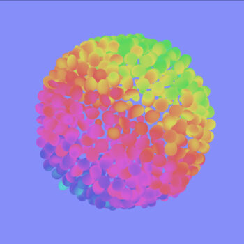 A blobby 3D shape with rainbow colors