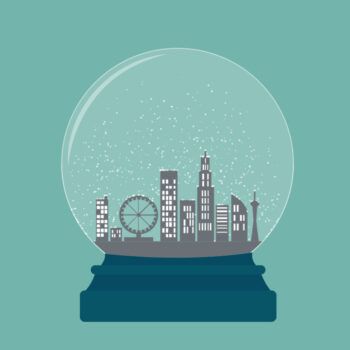Illustration of a snow globe with a city inside