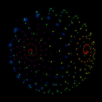 A 3D sphere made of hundres of particles