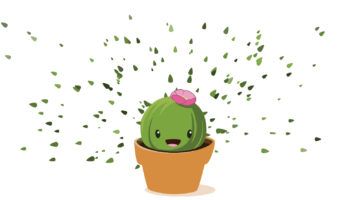Baby cactus in a pot with spines all around