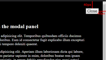 HTML Modal with lorem text and a block button misplaced on top right